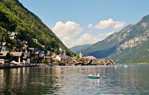 Bilder Gebirge See Haus Boot Seebrücke Österreich Hallstatt Alpen Gmunden County Natur Städte