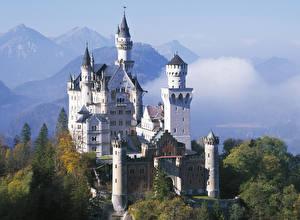 Pictures Neuschwanstein Germany Autumn Mountain Castle Bavaria Cities