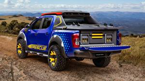 Wallpapers Nissan Pickup Blue Back view Concept 2018 Sentinel Frontier automobile