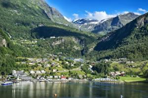 Hintergrundbilder Norwegen Gebirge Wälder Gebäude Landschaftsfotografie Bergen Schnee Bergen, North sea Städte
