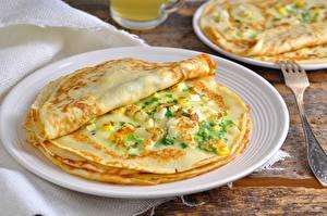 Bilder Eierkuchen Teller Lebensmittel