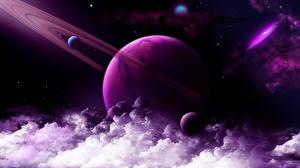 Papel de Parede Desktop Planetas Nuvem 3D_Gráfica