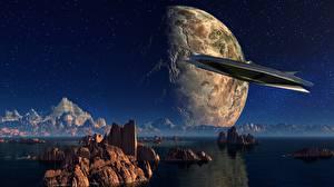 Wallpaper Planets Mountains Starship Crag Fantasy 3D_Graphics