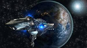 Bakgrundsbilder på skrivbordet Planeter Rymdskepp Jorden 3D_grafik