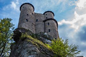 Bilder Polen Burg Felsen Ogrodzieniec Castle Städte
