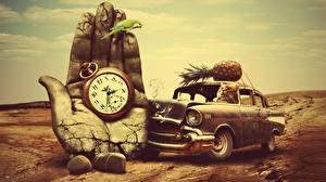 Photo Vintage Pineapples Cats Creative Clock Parrots Pocket watch Hands Phantasmagoria