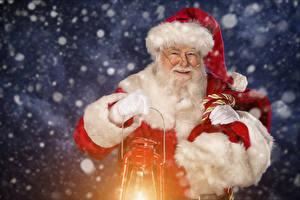 Wallpapers Santa Claus Lamp Winter hat Eyeglasses Beard Smile