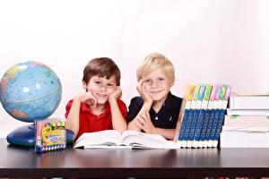Photo School Globe Boys Book Two Sitting Smile Children