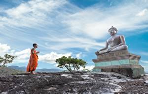 Hintergrundbilder Skulpturen Asiatische Religion Buddha Uniform Mönch Kinder