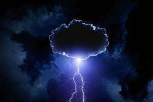 Wallpapers Sky Night Lightning bolts Clouds