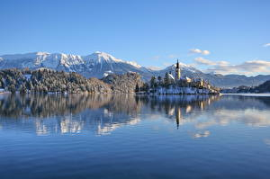 Pictures Slovenia Lake Mountain Castle Winter Alps Snow Lake Bled, Bled castle Nature