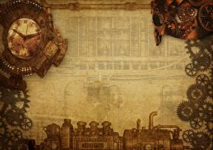 Hintergrundbilder Steampunk Uhr Zahnrad Vorlage Grußkarte