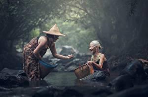 壁纸,,石,亚洲人,溪,2 兩,帽子,老婦人,坐,籃,