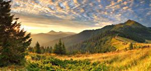 Bilder Sonnenaufgänge und Sonnenuntergänge Gebirge Landschaftsfotografie Bäume Gras Natur