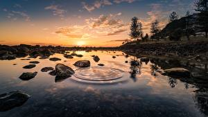 Bilder Sonnenaufgänge und Sonnenuntergänge Steine Wasser Landschaftsfotografie Bäume Natur