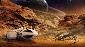 Bureaubladachtergronden Planeet oppervlak Kevers Ruimteschip Planeet Falesia Fantasy