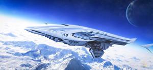 Papel de Parede Desktop Superfície do planeta Satélite natural Montanhas Nave estelar Voo 3D_Gráfica