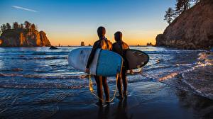 Wallpapers Surfing Coast Sunrises and sunsets Rock Two Nature