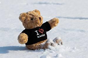 壁纸,,泰迪熊,雪,坐,心形符號,英語,