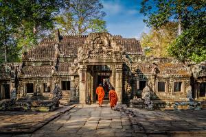 Fotos Tempel Asiatisches Mönch Angkor Wat, Angkor, Cambodia, monk Städte