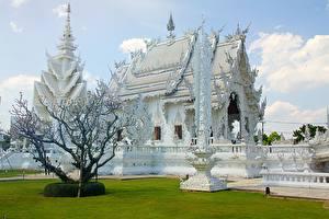 Bureaubladachtergronden Thailand Tempel Chiang Rai, White temple een stad