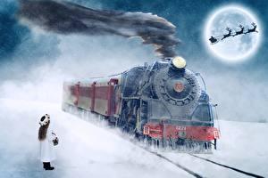 Bureaubladachtergronden Treinen Spoorwegen Een hert Kerst Rook Meisjes Maan Slee