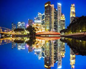 Hintergrundbilder USA Haus Flusse Brücken Abend Chicago Stadt Spiegelung Spiegelbild Städte