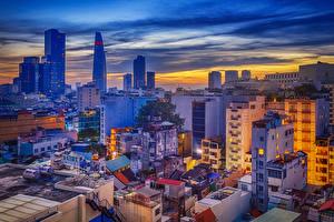 Hintergrundbilder Vietnam Haus Abend Dach Saigon Städte