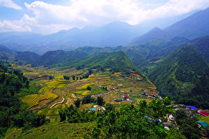 Hintergrundbilder Vietnam Landschaftsfotografie Gebirge Felder Haus Muong Hoa Valley