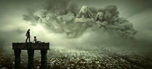 Bilder Krieger Haus Gewitterwolke Zwei Fantasy 3D-Grafik