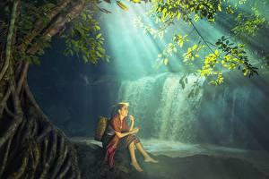 壁纸,,瀑布,亚洲人,坐,美麗,女孩,