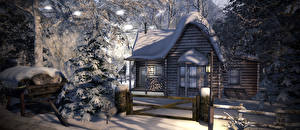 Pictures Winter Houses Snow Spruce Fence Wooden 3D Graphics