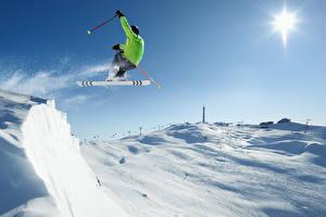 Fotos Winter Skisport Mann Schnee Sprung Sport