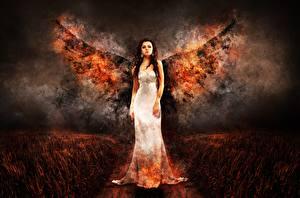 Hintergrundbilder Engel Feuer Kleid Mädchens