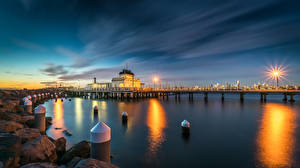 Pictures Australia Melbourne Evening Pier Stones Bay Street lights Kilda West Nature