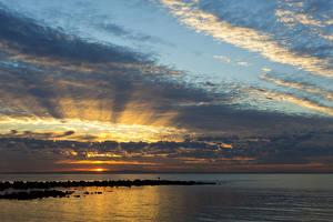 Bilder Australien Meer Sonnenaufgänge und Sonnenuntergänge Himmel Wolke Queensland Natur
