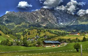 壁纸、、オーストリア、ザルツブルク、小さな町、建物、山、畑、アルプス山脈、ハイダイナミックレンジ合成、