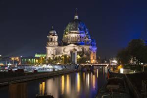 壁纸、、ベルリン、ドイツ、橋、夜、街灯、ドーム、Reichstag、