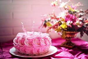 Pictures Birthday Torte Roses Candles Flame Pink color Food