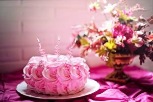 Bilder Geburtstag Torte Rosen Kerzen Flamme Rosa Farbe Lebensmittel