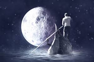 Images Boats Men Moon