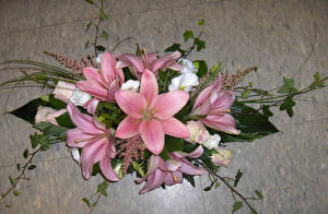 Photo Bouquet Lilium Pink color Flowers