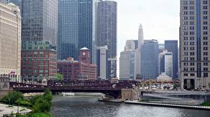 Hintergrundbilder Brücken Wolkenkratzer USA Chicago Stadt Bucht