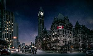 Hintergrundbilder Kanada Toronto Turm Nacht Stadtstraße Städte
