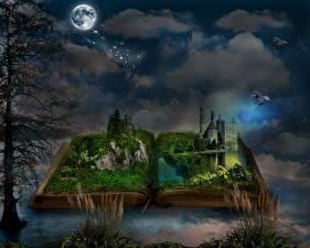 Bakgrundsbilder på skrivbordet Borg På natten Månen Träd En bok Gräset Fantasmagori Fantasy