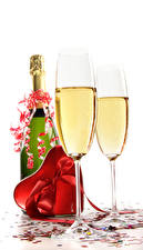 Images Sparkling wine Valentine's Day White background Bottles Stemware Heart Gifts Bowknot