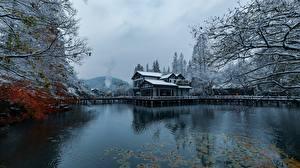 Bakgrundsbilder på skrivbordet Kina Parker Insjö Hus Vinter Snö Hangzhou stad