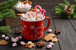 Fotos Neujahr Kekse Marshmallow Becher