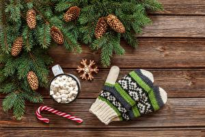 Wallpaper New year Mittens Conifer cone Marshmallow Wood planks Branches