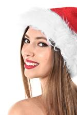 Image Christmas White background Brown haired Winter hat Staring Teeth Smile Girls